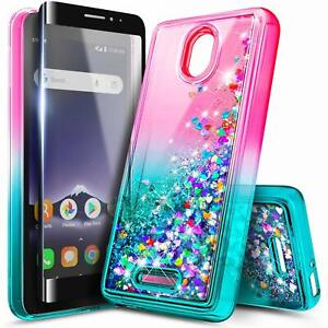 For Alcatel Insight / TCL A1 Case, Liquid Glitter Phone Cover + Tempered Glass