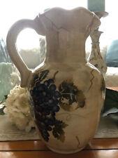 Hand-Painted Pitcher Grape motif~Euc~