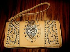 "Montana West Tooled Tan Leather Ladies Wristlet Wallet, 7-1/2"" x 4"", NWOT"