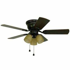 Harbor Breeze 42-in Oil-Rubbed Bronze Flush Mount Indoor Ceiling Fan Led Light