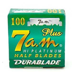 100 7 AM Replaceable Straight Edge Half Blades for Barber & Shavette Razors