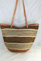 Large Shopping Market Basket Sisal Leather Handbag Kiondo Tote 321 Free Post