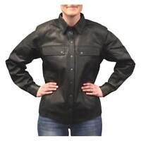 Redline Women's Lightweight Snap Down Collar Leather Riding Shirt, Black L-1800