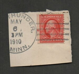US #332a EFO booklet pane single, on piece, Good Thunder, Minn, 1910. George W.