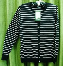 Black & White Stripes NEW NWT Jones New York Top M Medium Blouse Sweater LS