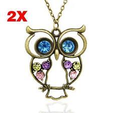 2X millésime femmes colorful hibou cristaux faux diamant pendentif collier  GA