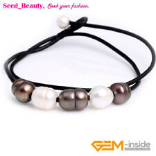 """9-10mm Jewelry 5 Pearls Lack Rope Leather Necklace Strand 17.5"""" Adjustable Size"""