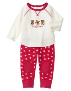 NWT~GYMBOREE~2 PIECE LONG SLEEVE TOP PANTS SNUGGLE BEAR SET~OUTFIT~0-3 MONTH~NEW