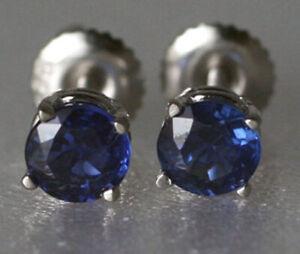 Sapphire Stud Earrings Screw Backs 14K White Gold Genuine 0.88ct Kashmir Blue