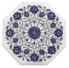 "12""x12"" Marble Coffee Table Top Lapis Marquetry Mosaic Floral Art Garden Decor"