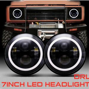 2x 7inch CREE LED Headlight Hi-Low Beam DRL Halo For Nissan Patrol GQ 1988~1999