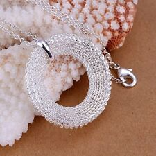 925 Silver Plt Chainmail Mesh Hollow Circle Pendant Necklace Woven Chains a