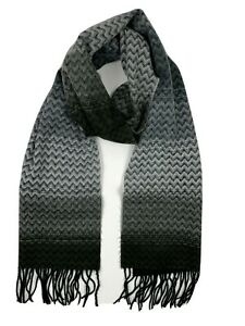 D&Y Softer than Cashmere NEW Womens Frayed Chevron Design Scarf Black Gray