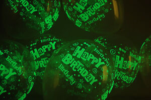 11 inch Glow in the Dark Clear Latex Happy Birthday Balloons