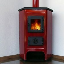 - JS 10kW Red Woodburning Corner Stove - Free Delivery to UK Mainland -