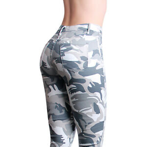 Damen Skinny Jeans Camouflage Hose Destroyed High Waist Slim Fit Stretch Fransen
