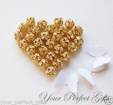 10 Gold Plated 8mm Rhinestone Crystal Bead Spacer Ball
