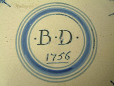 RARE DATED DELFT PLATE LONDON / BRISTOL 1756 DELFTWARE FAIENCE XVII MAIOLICA