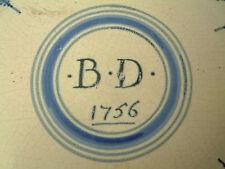 RARE DATED DELFT PLATE LONDON / BRISTOL 1756 DELFTWARE FAIENCE XVII MAIOLICA