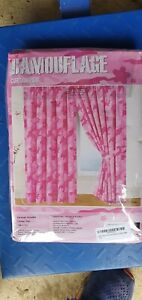 New Army Camouflage Camo Military Curtains Set 66x72 Inches Pink match Duvet