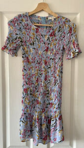 NEVER FULLY DRESSED BLUE FLORAL SHIRRED DRESS S SMALL