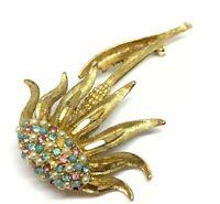 Vintage signed BSK gold tone rhinestone faux pearl flower brooch pin