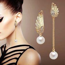 Ohrringe Ohrstecker Ohrschmuck Ohrhänger Piercing Flügel Strass Gold Perle