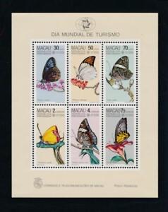 Macao 571a Mint NH Souvenir sheet, Flowers, Butterflies