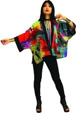 Miro Inspired Hand Painted Art to Wear Silk Kabuki Jacket   OS Plus Size 245
