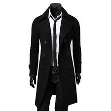 2016 Winter Men's Slim Stylish Trench Pea Coat Thick Double Breasted Long Jacket
