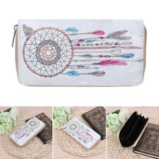 Women Clutch Wallet Faux Leather Purse Dream Catcher Long Card Holder Coin Bags