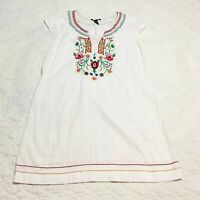 Lucky Brand Linen Floral Embroidered Smocked Tunic Shift Dress Sz L