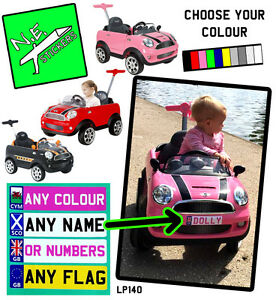 Personalised kids number plate (s) for MINI Cooper PUSH BUGGY car toy ride on