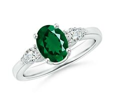 RUSSIAN CHROME DIOPSIDE GREEN OVAL & PEAR CUT STERLING SILVER RARITIES RING