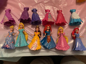 Disney Princess Magiclip Dolls Bundle (6 Dolls Plus 6 Extra Dresses) Magic Clip
