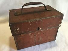 Antique Tin Metal Box Old Red Paint Country Weathered Farmhouse Primitive AAFA