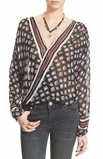 148142 NEW $88 Free People FP One Before Dawn Printed Wrap Sheer Blouse Top S