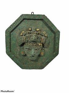 Vintage Mexican Aztec Mayan Ancient God Rare Stone Plaque