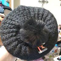 Women's Black One Size Beret Hat Pom Pom