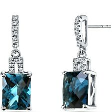 14K White Gold London Blue Topaz Earrings Radiant Checkerboard Cut 5.00 ct