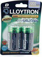 2Pk NIMH AccuUltra Battery - D 3000mAh