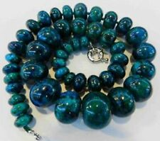 10-20mm Azurite Gemstone Phoenix Stone Roundel Beads Necklace 18""