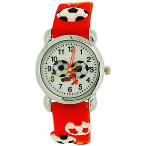 Relda Childrens Boy's 3D Soccer Football Red Silicone Strap Watch REL46