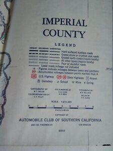Road Map IMPERIAL COUNTY California VTG Mid Century Rare VHTF Oct 1951