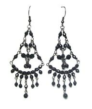 Black Bead Drop Dangle Hook Earrings Women Ladies Dress Chandelier Jewellery UK