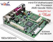 12V MOTHERBOARD MINI-ITX HP T5000 INKL. CPU AMD 1500+ & 512MB DDR RS-232 LPT USB