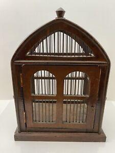 """Decorative dark Wood Bird Cage 11 1/2"""" x 14"""" x 8"""""""