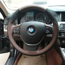 1 set Swede Leather Wrap Steering Wheel Cover Stitch on For BMW 525li 2014
