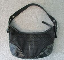 "COACH Signature Jacquard Leather Mini ""C"" Hobo Black/Brown Handbag #2154 Turkey"