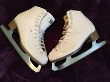 Riedell Women Ice Figure Skate sz: 7 White Leather. Paid $400 boots $250 blades